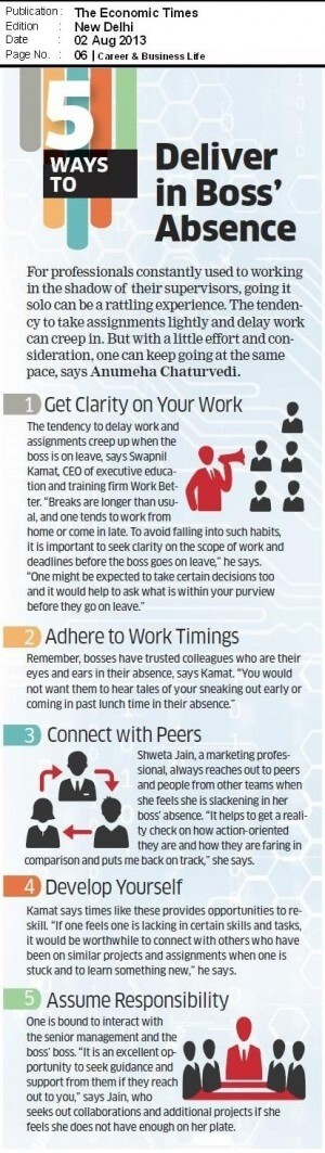 Five ways to deliver in boss' absence