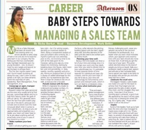 Baby Steps towards managing a sales team