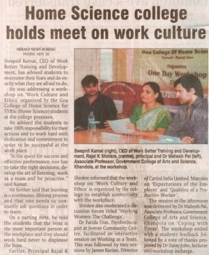 Home science college holds meet on work culture
