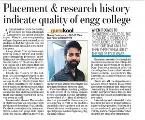 Placement and Research History Indicate Quality of Engg College