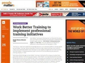 Work Better Training to implement professional training initiatives