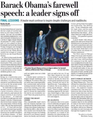 Barack obama's farewell speech: a leader signs off