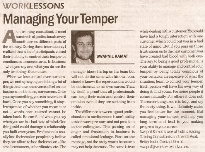 WorkLessons Managing your temper