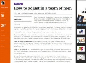 How to adjust in a team of men