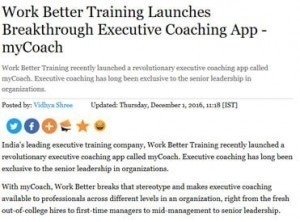 Workbetter training launches breakthrough executive coacing app my coach